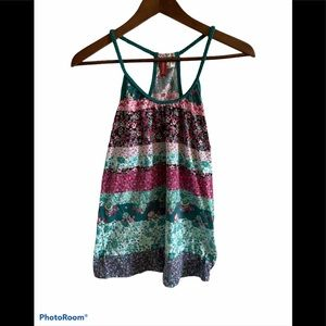 3/$30 Divided multicoloured floral braided top